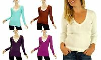 New Lot OUTLAW Deep Fitted V neck Tee shirt S M L long sleeve Knit top Sweater