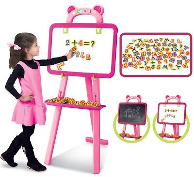 Childrens Pink 3 1 Learning Blackboard Whiteboard Magnetic