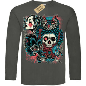 Wild-Native-T-Shirt-tribal-woman-skull-Mens-Long-Sleeve