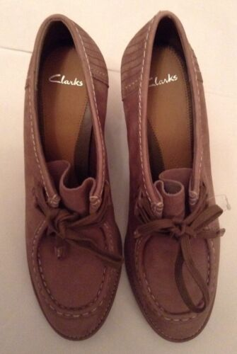 42eu clarks Zapatos Mushroom uk Gayle de 8 cuña Trinny Lace Leather New Nubuck fzwxqx