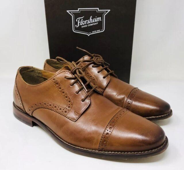 918b04a3d28 Florsheim Men s Marino Cap-Toe Leather Oxfords Size 9 Saddle Tan MSRP  110