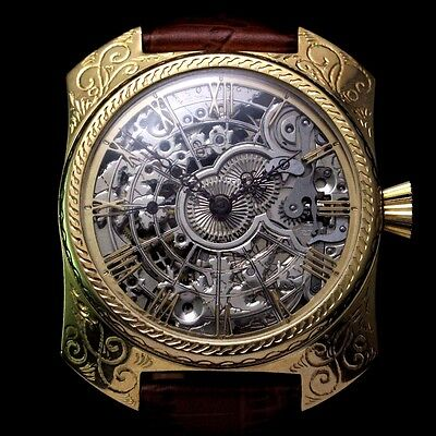 Men's Vintage Wrist Watches OMEGA Mechanical Gold Skeleton Swiss Mens Wristwatch