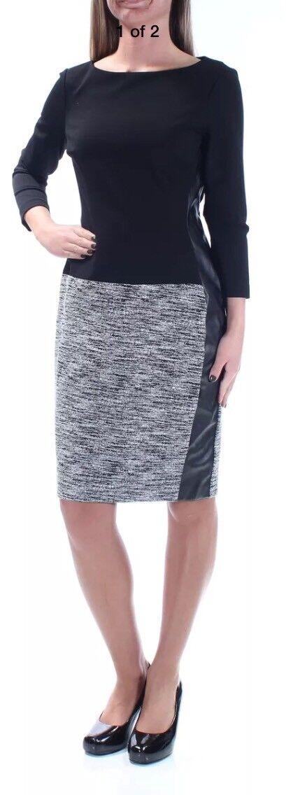 Lauren Ralph Lauren 4866 damen Vasha B W Faux Leather Wear to Work Dress 2