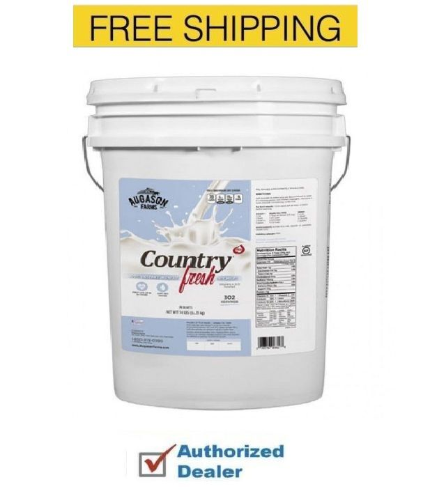 New Augason Farms Country 100% Fresh REAL INSTANT NONFAT DRY MILK - 14 LB PAIL