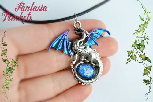 Fantasy Jewelry Blue /& Silver Dragon with Glass Gem Egg Pendant Necklace