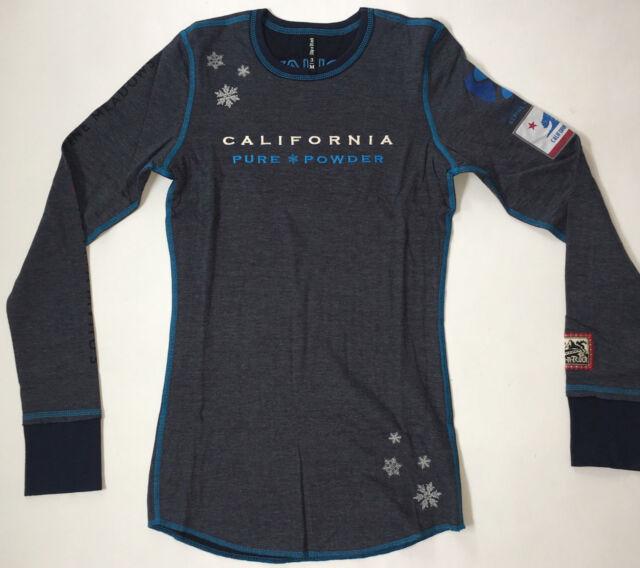 Alp-n-Rock Women's 1 XS Heather Gray Navy Blue Crew Neck Shirt Squaw Valley NWT