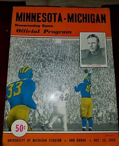 1949 Oct 22 Michigan Wolverines vs Minnesota Gophers Football Program