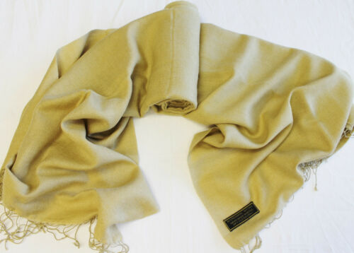 "H137 28/"" x 80/"" Gorgeous Camel Color Pashmina//Silk  Shawl//Wrap Handmade In Nepal"