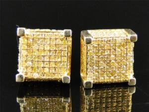 NEW MENS CUBE BLACK//WHITE DIAMOND STUD EARRINGS 9 MM