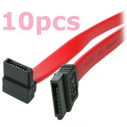 10 Pack 16 Serial ATA SATA Straight to Right Angle DATA HDD Hard Drive Cable