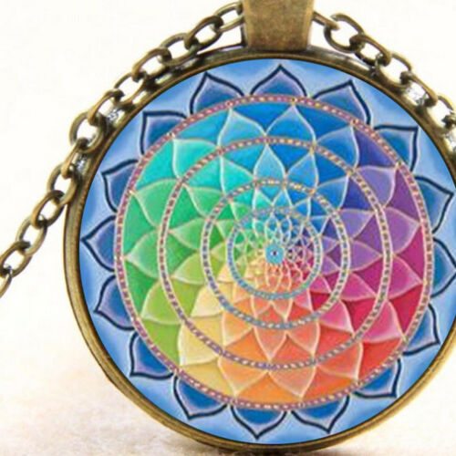 Spiritual Lotus Jewellery Sacred Geometry New Chakra Mandala Pendant Necklace
