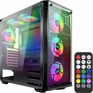 ATX Mid-Tower Desktop PC Computer Gaming Case w/ 6 RGB...