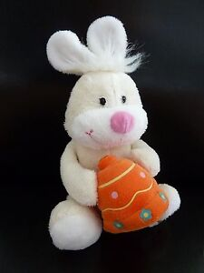 A8-DOUDOU-PELUCHE-GIPSY-LAPIN-BLANC-CLOCHE-ORANGE-ne-fonctionne-plus-TTBE