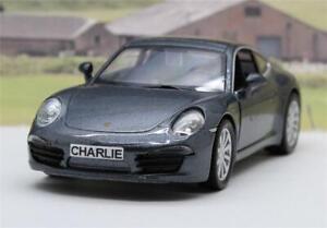 PERSONALISED-PLATES-Grey-Porsche-911-Diecast-Model-Boys-Dad-Toy-Car-Present-Boxd