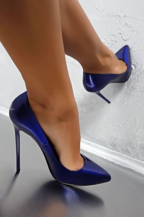 MADE in ITALY sexy Pigalle tacco alto bv4 Pumps Blu Scarpe Vera Pelle Verniciata Blu Pumps 41 9ef6da