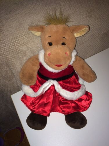Build a Bear Brown Holly Plush and Red Dress with White//Black Trim