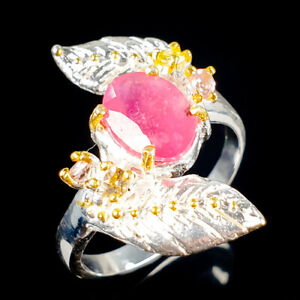Handmade9x6mm-Natural-Ruby-925-Sterling-Silver-Ring-Size-7-5-R114299
