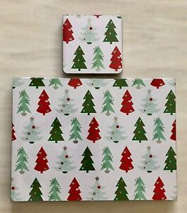 Christmas-Tree-Set-Of-4-Placemats-amp-4-Coasters