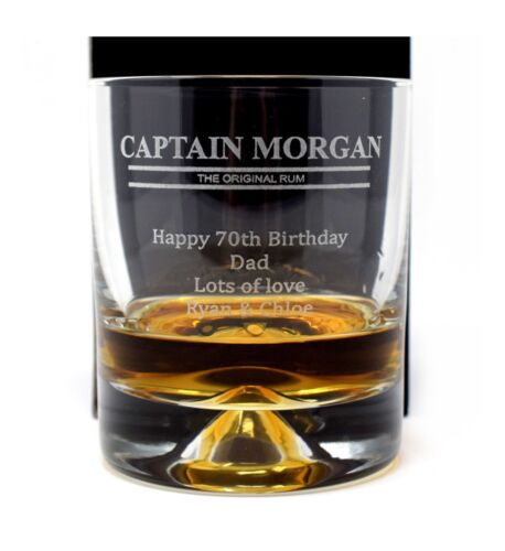 Personalised *CAPTAIN MORGAN* Dimple Glass Tumbler 18th//21st//30th//Birthday//Gift