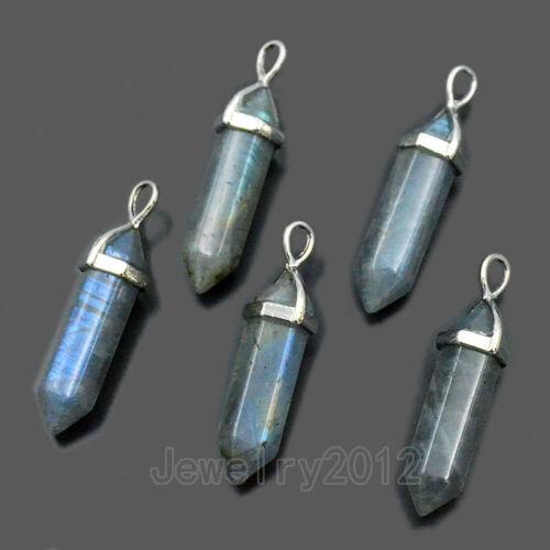 Natural Labradorite Gemstones Silver Cap Healing Pointed Reiki Chakra Pendant