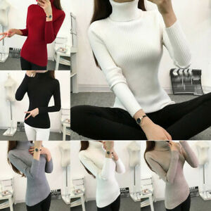 Women-Warm-Knitted-Sweater-Turtleneck-Pullover-Top-Slim-Fit-Long-Sleeve-Winter