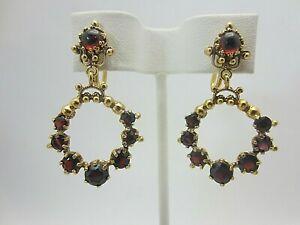 Details About Vintage Antique 14k Yellow Gold Garnet Earrings Non Pierced Dangle 6 Cts