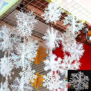 EG-30Pcs-Nuovo-Classico-Bianco-Fiocco-Di-Neve-Ornamenti-festivita-Natalizie-Festa-A-Casa-Dec