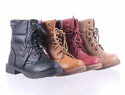 Casual Round Toe Kids Youth Military Lace Up Combat Boots Girls Shoes Size 9 - 4
