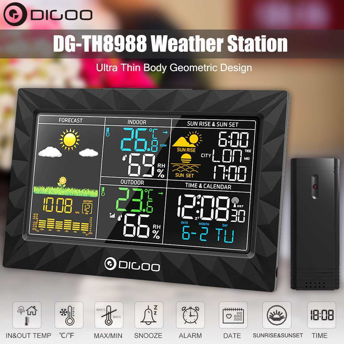 Färg Weather Station + Outdoor Remote Sensor Thermometer Hygrometer Snooze