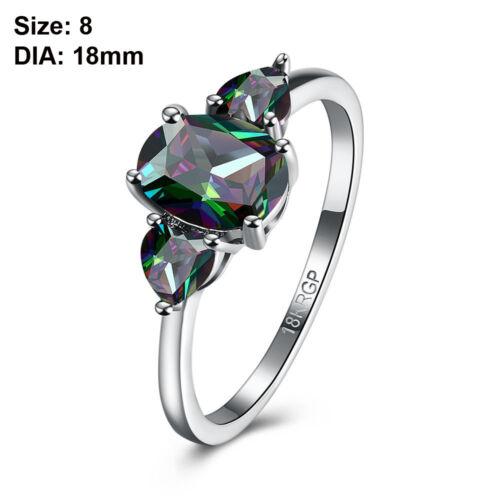 Hochzeit Schmuck Zirkonia 18K Vergoldung Ovalschnitt Feuer-Regenbogen-Ring