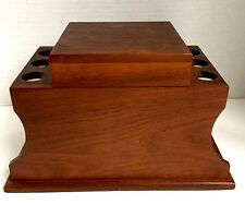 Wood Pipe Stand & Chalk Humidor 6 Pipe Holder Vtg Smoking Tobacciana