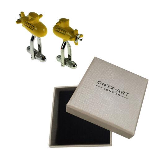 Para Hombre Yellow Submarine Velero Azul Marino Gemelos /& Caja De Regalo Por Onyx Art