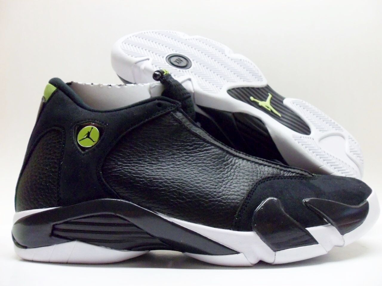 NIKE AIR JORDAN 14 RETRO BLACK/WHITE-VIVID GREEN SIZE MEN'S 13 Price reduction Casual wild