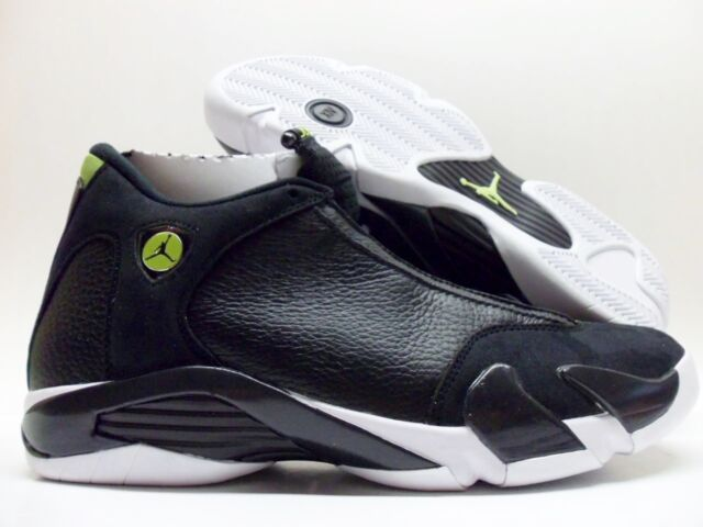 cc49819ab85 NIKE AIR JORDAN 14 RETRO BLACK WHITE-VIVID GREEN SIZE MEN S 10.5  487471