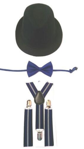 Boy/'s Age 2-6 yrs Black Linen Fedora Hat-Hat Only or w//Suspender /& Bow Tie Set