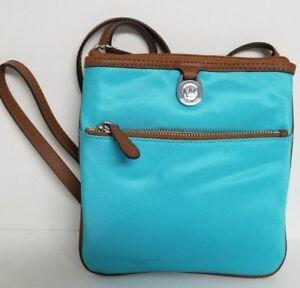 aecbaf889ab1 Details about Michael Kors Kempton Large or Small Aquamarine Teal Crossbody  Handbag Purse NWT