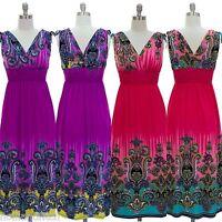NWT JON & ANNA Paisley Print V-Neck Smocked Long Maxi Summer Dress Beach