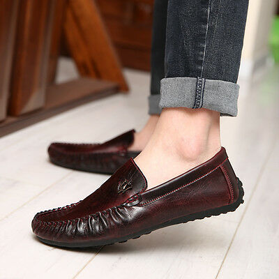 Men's Leather Loafer No-slip Casual Driving Moccasin shoes US Size 6.5-10