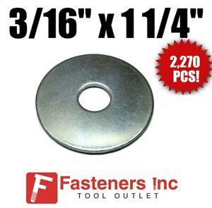"250 PCS NEW 5//16/"" X 1 1//2/"" Fender Washers Zinc Plated"