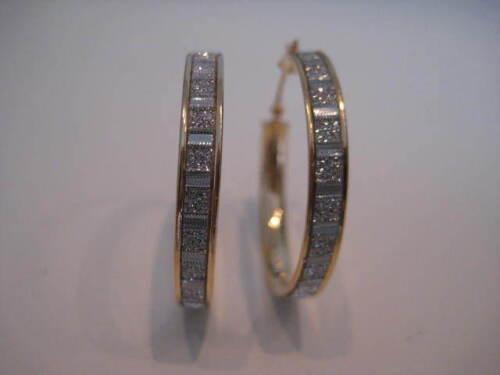 Oro Amarillo Aro Pendientes efecto de brillo Moondust Diamante Baguette 9 CT