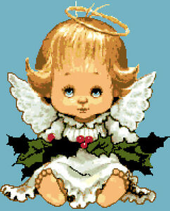 Angelo Natale.Schema Schemi Punto Croce Angelo Natale Nativita Ricamo Ebay