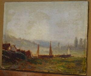 Eugene-DESHAYES-1828-1891-TABLEAU-PAYSAGE-BATEAU-SEINE-ROUEN-NORMANDIE-1880