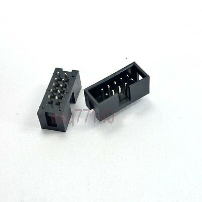 10pcs 2.54mm 2x5 10 Pin Right Angle Male Shrouded PCB IDC Box Header Connector