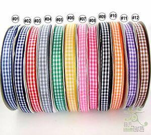 2Yard-5Yard-100Yard-Mixed-Colors-Gingham-Ribbon-Christmas-9mm-3-8-034-12-colors