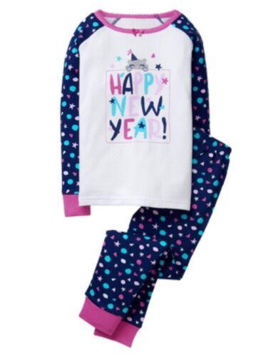 Gymboree Gymmies Happy New Year Holiday Girls Kitty Cat Pajamas Pjs 2017 Size 3