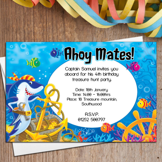 10 Personalised Boys Girls Sea Shark Pirate Birthday Party Invitations N5