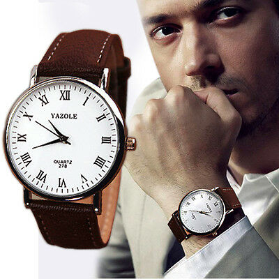 Luxury Fashion Faux Leather Mens Analog Watch Watches Brown Strap New Gayly