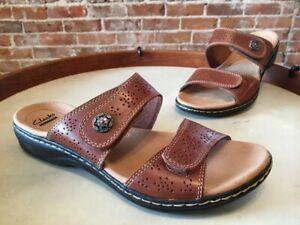 Clarks-Tan-Brown-Leather-Leisa-Lacole-Double-Strap-Slide-Sandal-9-5-Sale