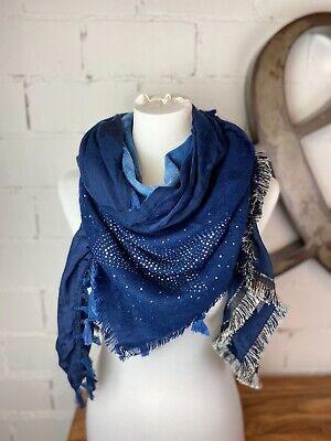 XXL blogger Kuschel Viskose Wolle Mix Schal blau Karo Plaid Nova Check warm