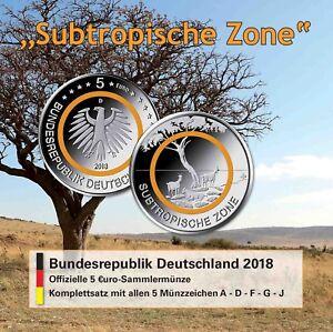 Komplettsatz Deutschland 5 Euro Subtropische Zone 2018 Mzz A D F G J im Folder